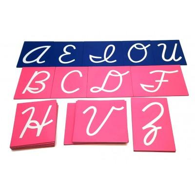 Litere mari cursive din glasspapier - Alfabet international